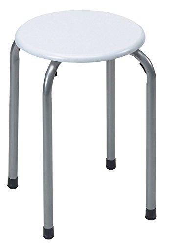 Axentia bad-sgabello per bagno doccia sgabello sgabello in bagno doccia rotondo sedia impilabile sgabello con seduta in plastica, acciaio inossidabile, argento/bianco, 30x 30x 45cm