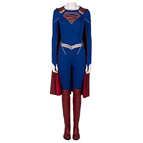 Für Erwachsenen Frauen Supergirl Kostüm - QWEASZER Supergirl Kostüm Frauen Superman Superhero Engen Overall Onesies Set Schlacht Kostüm Mantel Schuhe Halloween Film Cosplay Kostümfest Requisiten,Supergirl-Custom Size