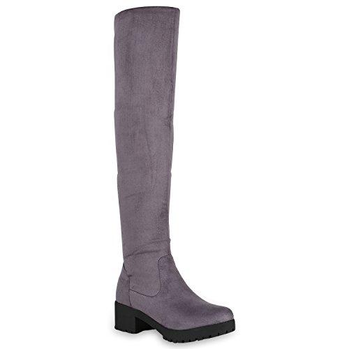 Stiefelparadies Damen Stiefel Overknees Wildleder-Optik Plateau Warm Gefütterte Schuhe 149284 Grau Carlet 38 Flandell