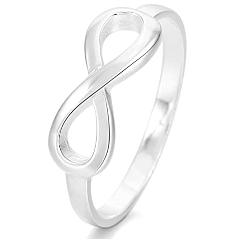 MunkiMix 925 Sterling Silber Ring Silber Infinity Unendlichkeit Zeichen Symbol 8 Ring Größe 57 (18.1) Damen