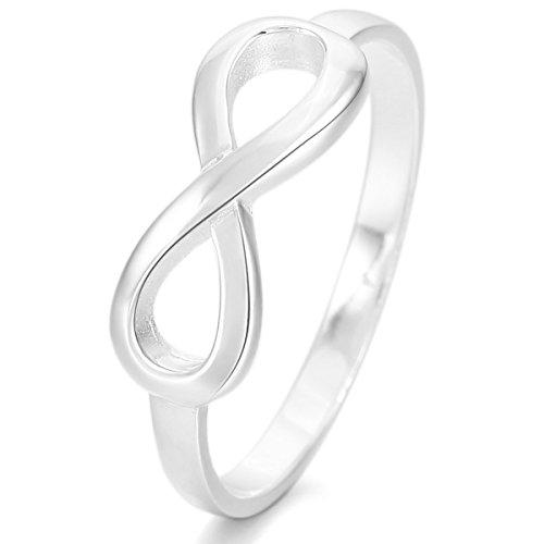 MunkiMix 925 Sterling Silber Ring Silber Infinity Unendlichkeit Zeichen Symbol 8 Ring Größe 54 (17.2) Damen
