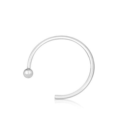 Nasen-Piercing Ring Schmuck Stecker 585er Weißgold, Spannring Offen