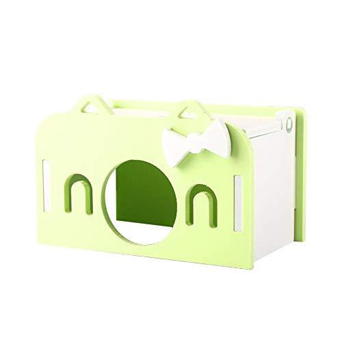 Topincn casa di criceto di grandi dimensioni in legno eco-friendly cute fashion assembling pet mouse rat cabina sleeping house 3 colori(verde)
