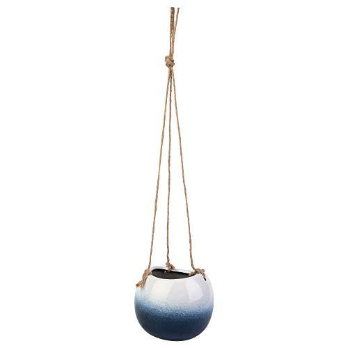 KASA Hängender Keramik-Übertopf mit Seil, blau und weiß