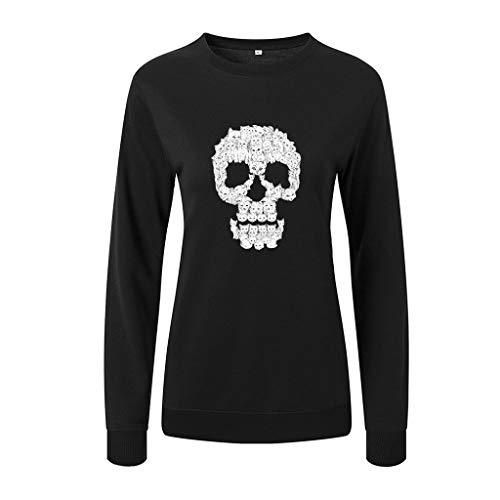 MOTOCO Pullover Hoodies DamenO-Ausschnitt Volltonfarbe Buchstaben Animal Print Langarm Halloween Pullover Sweatshirt Bluse(S,Schwarz-Shantou)