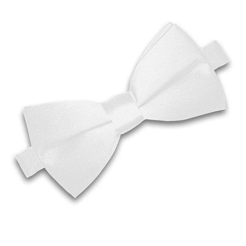 Soul-Cats® Kinder Fliege vorgebunden verstellbar Hochzeit Kommunion Jugendweihe, Farbe:weiß