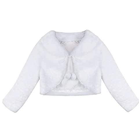 Freebily Mädchen Bolero Cape Kunstpelz Winter Jacke Lange Ärmel Schulterjacke Bolerojäckche festlich Weiß/Rosa in Größe 80-128 Weiß 122-128