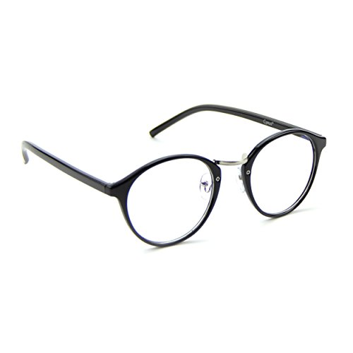 Cyxus transparente linse runden rahmen brillen, gewöhnliche gläser retro mode unisex brillen, Schwarz Rahmen