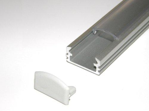 Lackiert Milchglas (Aluprofil für Led-Streifen, eloxiert, P2, Silber lackiert, Milchglas-Abdeckung, 2 Endkappen, Länge: 500 mm/0,5 m)