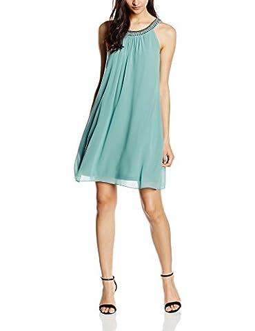 ESPRIT Collection Damen Kleid fließende Chiffon Qualität, Knielang, Gr. 38, Grün (DUSTY GREEN 335)