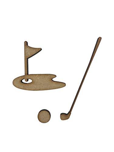 20x verschiedene Golf Ball Club 4cm Holz Craft Verzierungen Laser Schnitt Form MDF