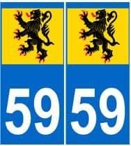 Autocollant plaque immatriculation auto département 59 Nord Flandres
