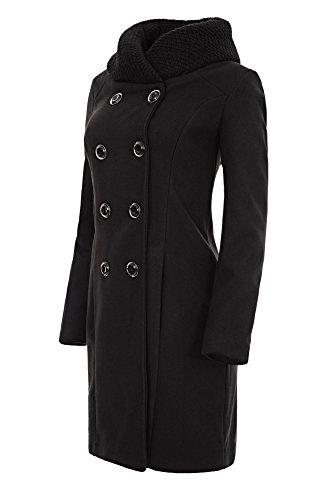 Laeticia Dreams Damen Winter Mantel Jacket Stehkragen XS S M L XL, Farbe:Schwarz;Größe:40