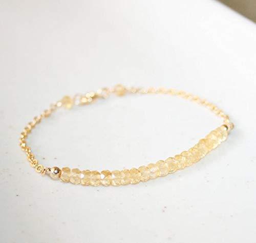 LOVEKUSH Beautiful AAA++ Quality Little Yellow Citrine Bracelet, 14K Gold FilledFilled Filled, November Birthstone, Small Gemstone Bracelet, Stacking Bar Bracelet, Dainty Bracelet 4 mm -