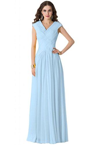 Sunvary Chiffon Ruffle-canotta quando viene piegato donna stile Bridesmaid Prom Gowns Light Sky Blue