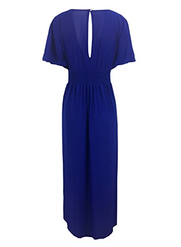 Futurino Femmes Col V Taille empire Manches Courtes Key-Hole Back Maxi Robe de Soirée blue