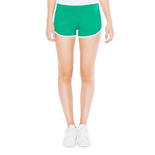 American Apparel Damen Interlock Running Shorts/Kelly Green/White, M (American Apparel Running Shorts)