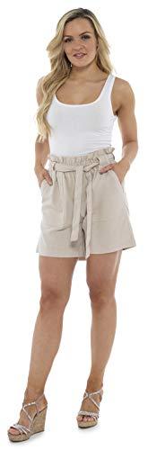Große Casual Shorts (CityComfort Damen Leinenshorts | Frauen Casual Leinen Shorts für Sommer, Urlaub, Strand | Trendy Papiertüte Taille (52, beige))