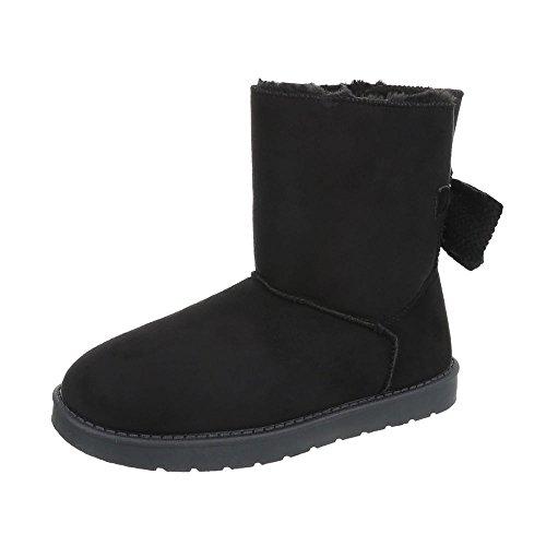 Stiefel & Boots Kinder-Schuhe Klassischer Stiefel Mädchen Ital-Design Stiefeletten Schwarz, Gr 33, 5726-1-