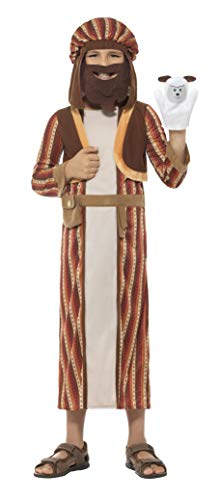 Kostüm Hirten - Smiffys Kinder Jungen Hirten Kostüm, Gewand, Kopfteil mit Bart und Schaf Puppe, Alter: 10-12 Jahre, 48206