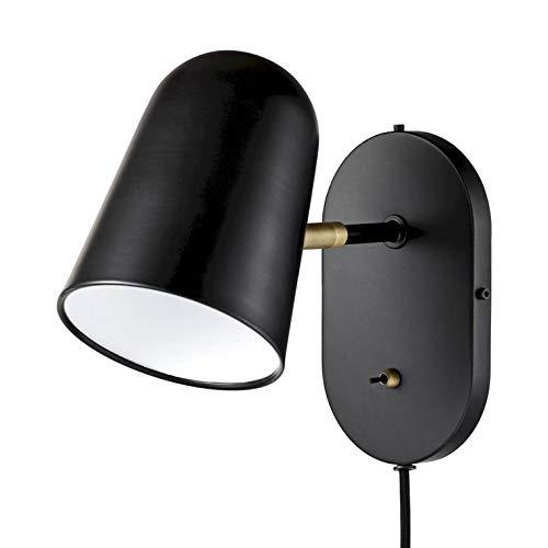 BUREAU-Applique da parete in metallo con presa H22 cm, nero Bolia