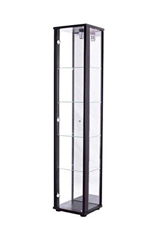 Vitrine 176x37x33 cm collection miniature noir avec 4 étagères en verre, avec éclairage et miroir