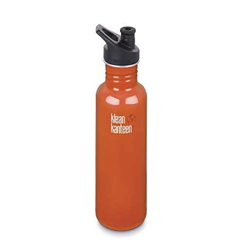 Klean Kanteen Edelstahlflasche mit Sport Cap 800 ml Classic, Flame Orange, 8020031 -