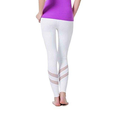 Masterein Femmes Taille Haute Patchwork Yoga Pantalon Leggings Sport Courir Pantalons Collants Gym Jogging Pantalon Blanc