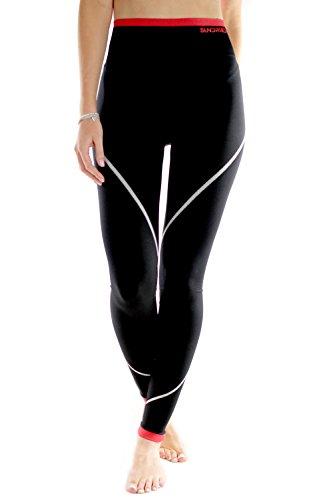 Sundried Damen Sport Fitness Leggings Made in Portugal von Prämium Sporttextilien Designer Fitness Bekleidung Laufen Leggings Yoga Gym Training (Small, Schwarz) (Damen-seamless-capri)