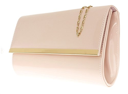 Girly HandBags Lackleder glänzend Handtasche Pinky Nude