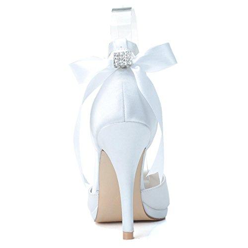 L@YC Scarpe Da Sposa Femminile Nastro # 0255-28 Piattaforma Chiudi Toe / Seta Rotonda Top Personalizzata Da Matrimonio Purple