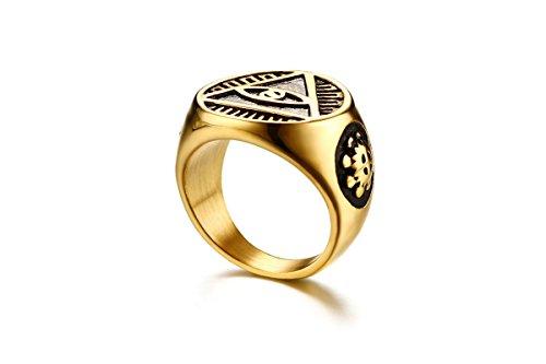 SonMo Edelstahl Für Männer Siegelring Aventurin Ringe Herren Gold Silber Größe 62 (19.7) Breite: 1.85Cm - Aventurin Für Ringe Männer