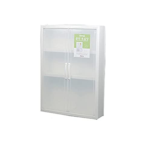 Blanc transparent Transparent 3étages Armoire de salle de bain étagère de rangement