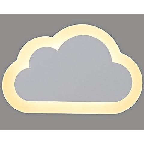 Coquimbo Creativo Vivid Nuvole Forma Acrilico Ferro Da Muro Di Luce Della Lampada Da Parete 8W Luci A Led (Compreso), Luce Bianca Calda 3000K-3500K