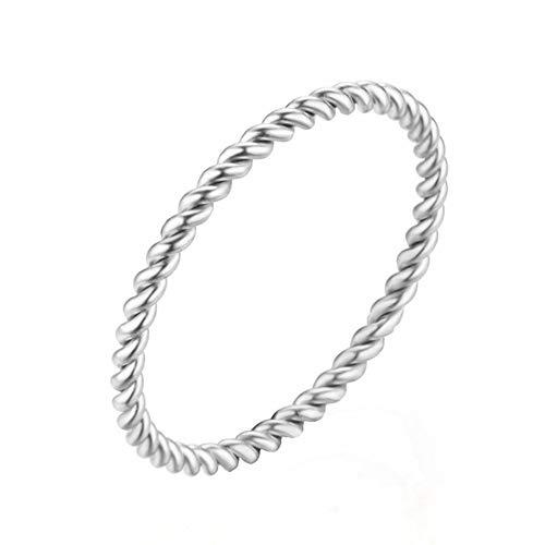 ZHOUYF RING Verlobungsringe Runde Ringe Für Frauen 1,5Mm Dünne Rose Gold/Silber/Gold Farbe Twist Seil Stapeln Hochzeit Ringe In Edelstahl Bijoux, 8# (Cartier Ehering Gold)