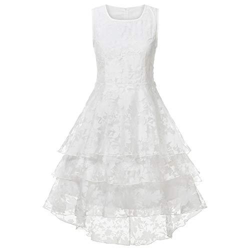 Konservative Solide Runde Anzug (XUEGM-hat Frauen weißes Kleid, ärmelloses Cocktail-Party-Abendkleid mit Spitze A-Linie Kleid Damenanzug für Party, Hochzeit, Abend, Brautjungfer Kleid,L)