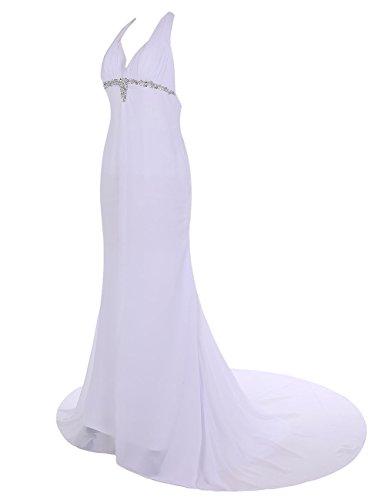 Dresstells, Robe de soirée Robe de cérémonie style halter dos nu traîne moyenne emperlée Gris