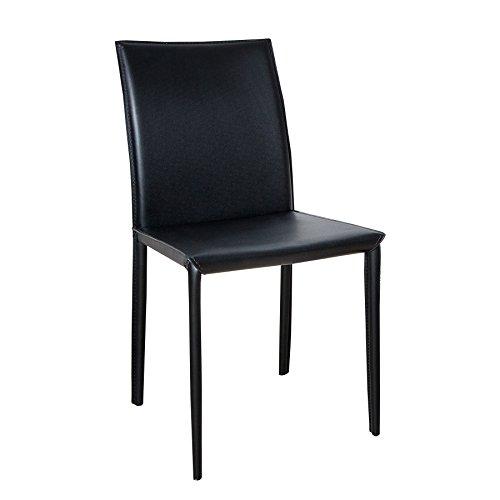 ECHT LEDER Stuhl MILANO schwarz Ziernaht Lederstuhl Lehnstuhl Esszimmerstuhl - Designer Leder Stühle