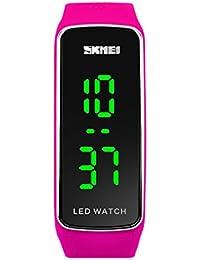 la niña llevó el reloj digital de los deportes de la banda de silicona de color rojo reloj con estilo para estudiantes de los niños par regalos
