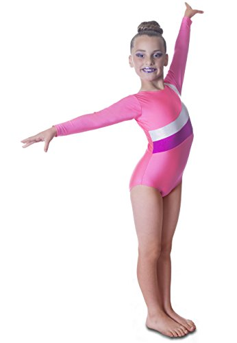 Deluxe Rosa Sleeve Gymnastik Mädchen Trikot mit Silber und Cerise Streifen (6-7 (Tanz Mädchen Tippen Kostüme Für)