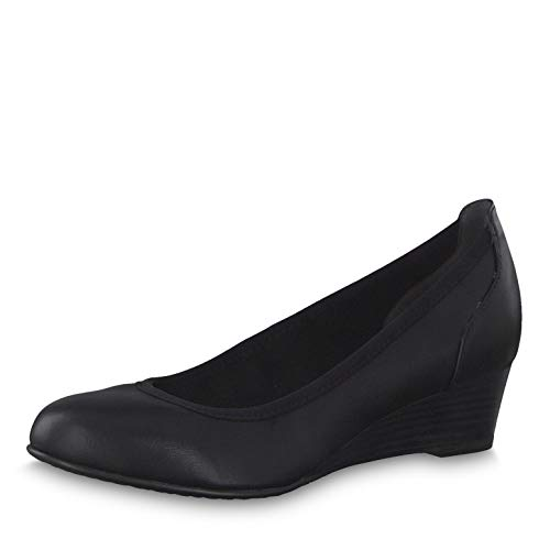 Tamaris Damen Pumps 22304-23, Frauen Keilpumps, Women Woman Freizeit leger Pumps Keilabsatz klassisch elegant edel bequem,Black MATT,40 EU / 6.5 UK