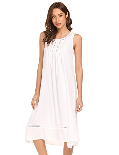 Baumwoll-nachthemd (Keelied Damen Baumwolle Nachthemd Ärmelloses Nachtkleid Nachtwäsche Sommer Midi Kleid mit Spitze, Weiß, Gr. XXL)
