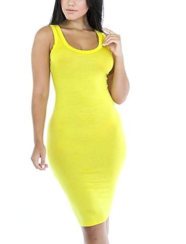 SunIfSnow - Robe - Moulante - Uni - Sans Manche - Femme - jaune - X-Large