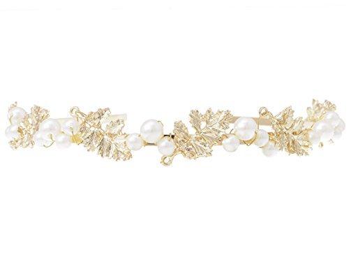 Alilang Serre-tête bandeau doré de style déesse grecque avec motifs de feuilles de laurier et perles d'imitation