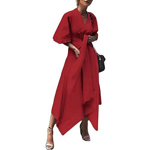 Yujian12 abito estivo abito lungo lungo vintage donna manica corta sexy scollo a v asimmetrico a vita alta partito plus size-in abiti da donna