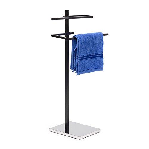 Relaxdays Handtuchständer mit 2 Handtuchstangen in U-Form HBT 82 x 44 x 28 cm Handtuchhalter stehend mit eckiger Bodenplatte als Badetuchhalter und Kleiderbutler aus verchromtem Stahl matt, schwarz