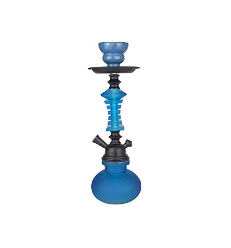 Cachimba de diseño premium - 27cm - Shisha cristal - KIT de iniciación PREMIUM (Azul)