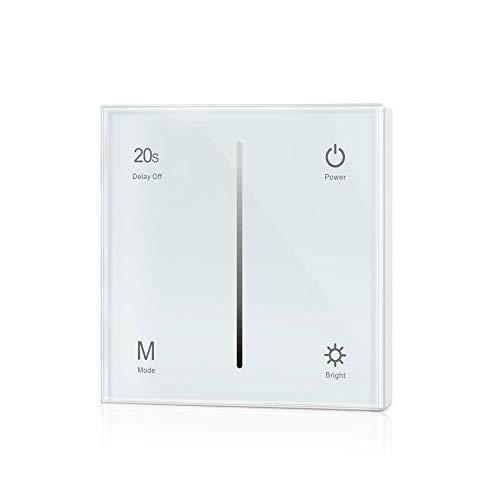Dimmer-Panel für LED bis zu 240W, Touch-Schalter 230V universal für Phasenabschnitt & -anschnitt, Wandschalter-Controller (Touch-Dimmer/Weiß) -