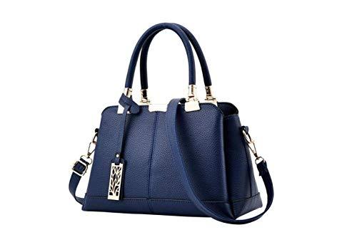 Damen Tasche Frauen Pu-Leder Einkaufstasche Damen Handtasche Dame Abendtaschen Feste Weibliche Beutel Hochwertige Handtaschen,Navy blau,A
