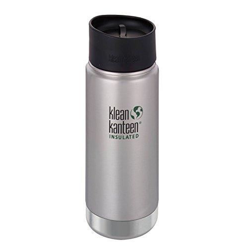 Klean Kanteen Edelstahlflasche mit Cafe Verschluss 473 ml Vakuum Insulated Wide Thermoflasche, Brushed Stainless, 0.473 Liter